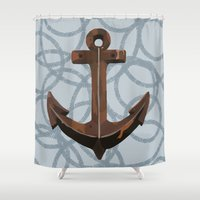 anchors Shower Curtains featuring Anchors Away! by eMJay Digital Art