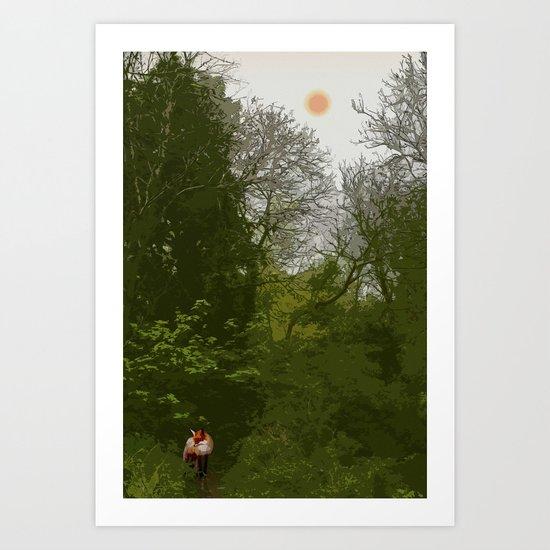 FOX IN A COOL GREEN WORLD Art Print