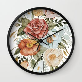 Roses and Poppies Wall Clock