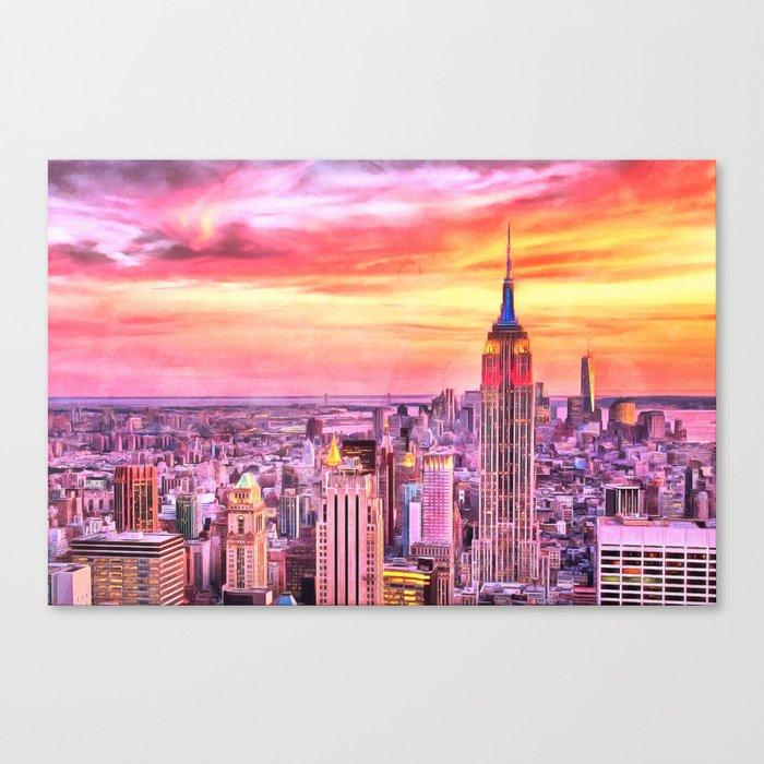 Nyc Brooklyn New York City Manhattan Sunset Painting City Watercolor Skyline Art Print Decor Canvas Print By Reburndesigns
