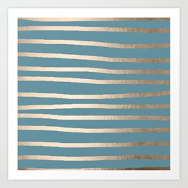 Abstract Drawn Stripes Gold Tropical Ocean Blue Art Print