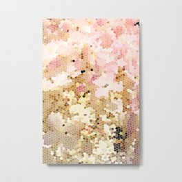 Flower Mosaic Millennial Pink and Golden Yellow Abstract Art | Honey Comb | Geometric Metal Print