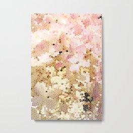 Flower Mosaic Millennial Pink and Golden Yellow Abstract Art | Honey Comb | Geometric Metal Print