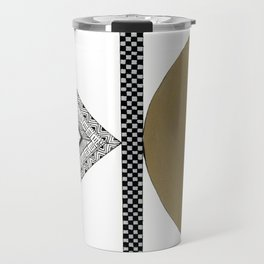 Geometric Shapes with Gold, Copper and Silver Travel Mug
