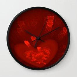 Red Hearts St. Valentine's Galentine's Sweetest Day love Burgundy Bordo Vinous Ruby Garnet Pattern Wall Clock