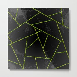 Abstract shapes with green lines and black gradient background Metal Print