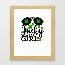 Lucky Girl Shamrocks And Sunglasses St Patricks Day Framed Art Print