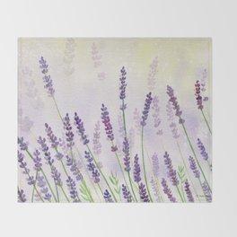 Lavender Flowers Watercolor Throw Blanket