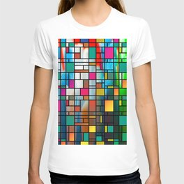 Abstract Modern Art Grid Pattern T-shirt
