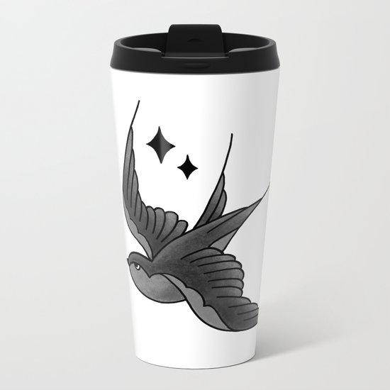 Swallow Flash - mono Metal Travel Mug