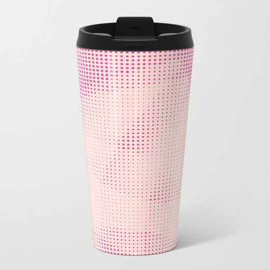 Pink and Rose Colored - Optical Game 24 Metal Travel Mug