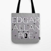 edgar allan poe Tote Bags featuring Edgar Allan Poe by DonnaHuntriss