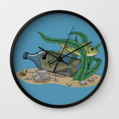The Fish and the Bottle Wall Clock