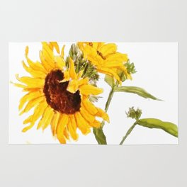 One sunflower watercolor arts Rug