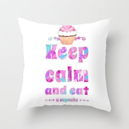 Life is sweet.Cupcake love Throw Pillow