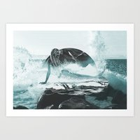 mermaid Art Prints featuring Mermaid by fly fly away