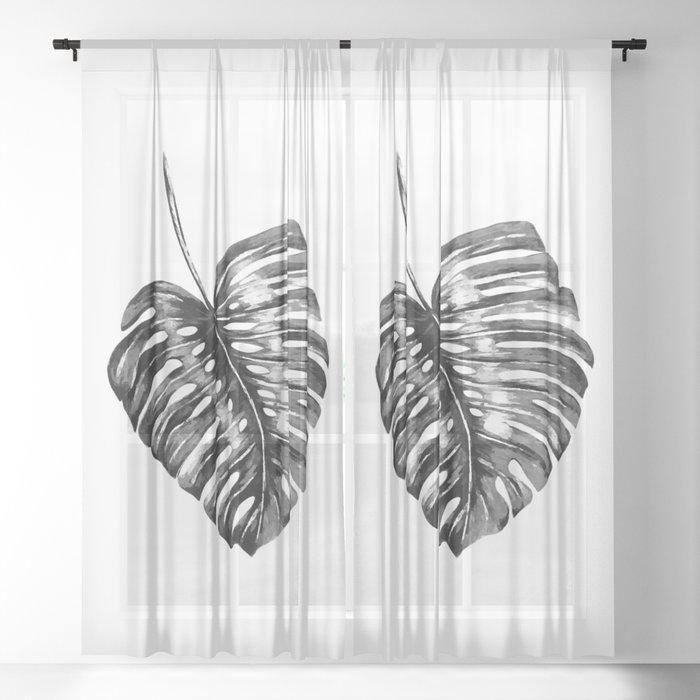 Monstera leaf black watercolor illustration Sheer Curtain