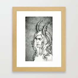 Demon with cleft and frown Framed Art Print
