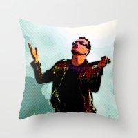 u2 Throw Pillows featuring U2 / Bono 2 by JR van Kampen