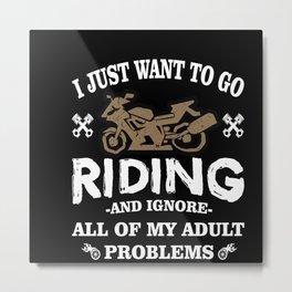 I Love Motorcycling Metal Print