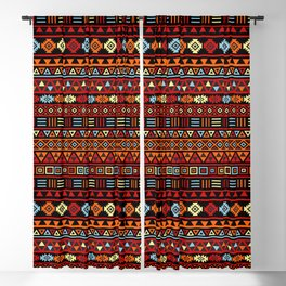 Aztec Influence Ptn IV Orange Red Blue Black Yellow Blackout Curtain