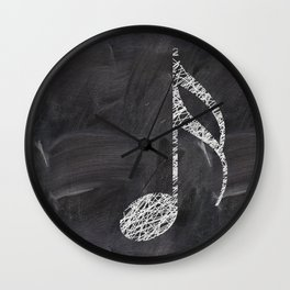 Scribble music note on chalkboard Wall Clock