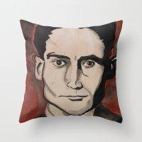 kafka Throw Pillows featuring Franz Kafka by Emily Storvold