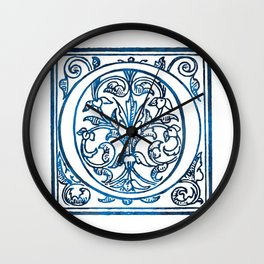 Letter O Antique Floral Letterpress Wall Clock