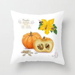 Pumpkin and Pollinators Throw Pillow