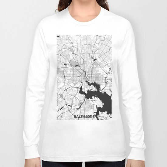Baltimore Map Gray Long Sleeve T-shirt