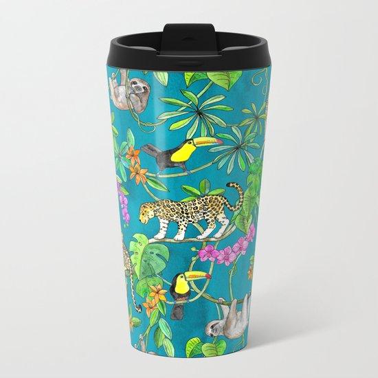 Rainforest Friends - watercolor animals on textured teal Metal Travel Mug