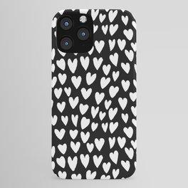Linocut printmaking hearts pattern minimalist black and white heart gifts iPhone Case