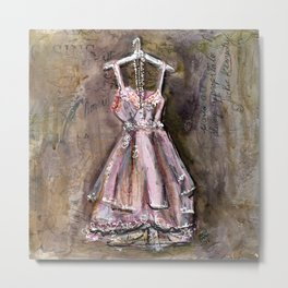 Vintage Pink Dress with Pearls Mixed Media Metal Print