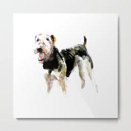 Airedale Terrier on watercolor Metal Print