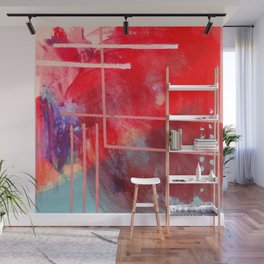 Jubilee: a vibrant abstract piece in reds and pinks Wall Mural