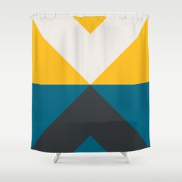 Split X Teal & Yellow Shower Curtain
