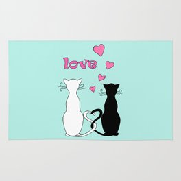 Couple cats with love Rug