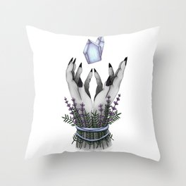 crystal hands colored Throw Pillow