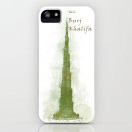 Burj Khalifa, Dubai, Emirates in WaterColor Green iPhone Case