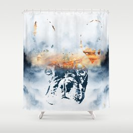French bulldog and landscape abstract design Shower Curtain