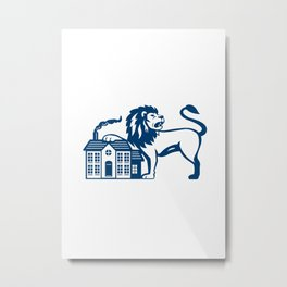 Angry Lion Paw on House Isolated Retro Metal Print