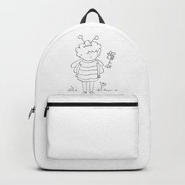 Little bee girl   digital art   black and white illustration Backpack