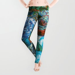 Vintage & Shabby - blue floral camellia flowers watercolor pattern Leggings