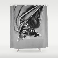 "bat Shower Curtains featuring ""Bat"" by Sherise Mckinney Art"