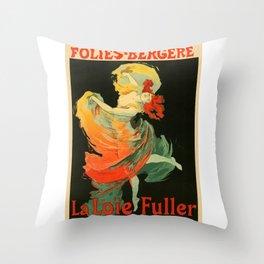 Belle Epoque vintage poster, Folies Bergere, La Loie Fuller Throw Pillow