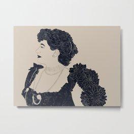 Victorian Woman with Dalias Metal Print