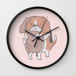 Beagle Hugs Wall Clock