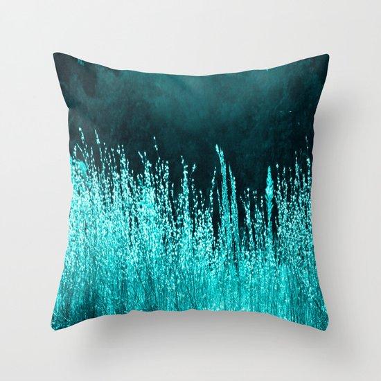Grasses Aqua Throw Pillow