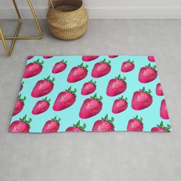 Fun Summery Strawberry Print With Light Blue Background! (Large Scale) Rug