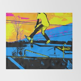 """Air Walking""  - Stunt Scooter Throw Blanket"